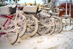 Winter mit Fahrrad